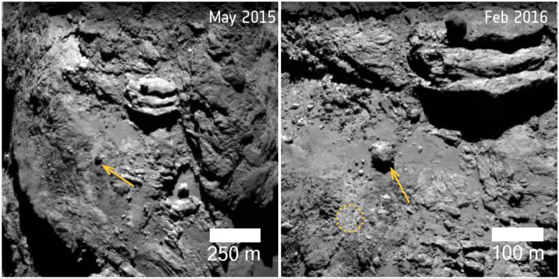 Przemieszczenie się 30 metrowego głazu na komecie 67P/Czuriumow-Gierasimienko (ESA)