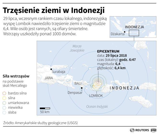 Trzęsienie ziemi w Indonezji (Maciej Zieliński/PAP/Reuters)