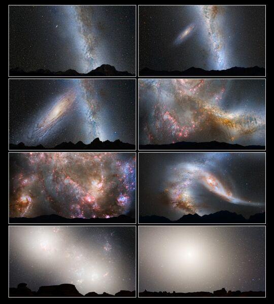 Wizualizacja zderzenia Drogi Mlecznej z Galaktyką Andromedy