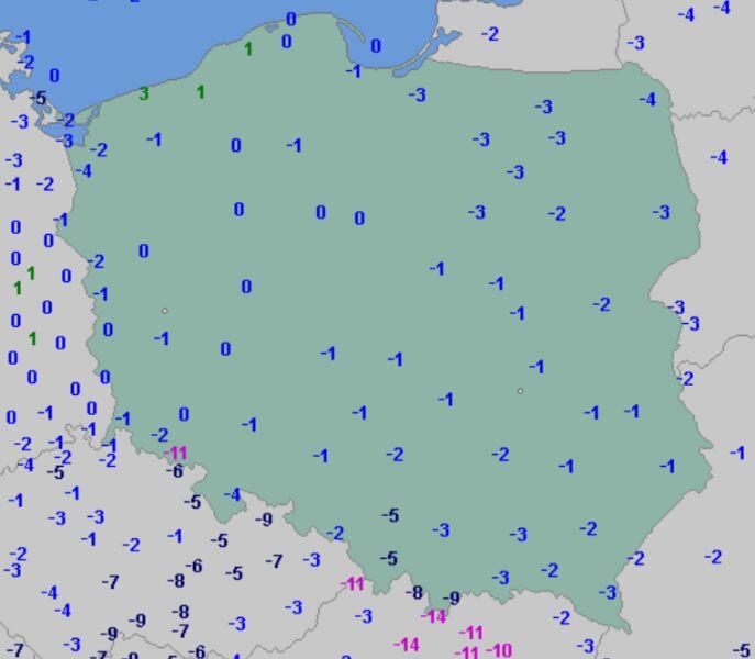 Temperatura minimalna w poniedziałek 11 stycznia (wetteronline.de)