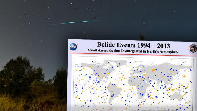 20 lat bombardowania Ziemi przez kosmiczne skały na mapie