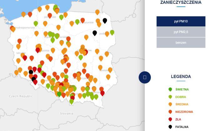 Stężenie pyłu PM10 we wtorek o godzinie 19 (tvnmeteo.pl za GIOŚ)
