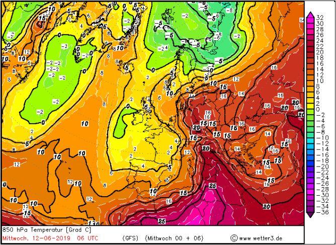 Temperatura na wysokości 1,5 km w środę o godzinie 8 (wetter3/GFS)