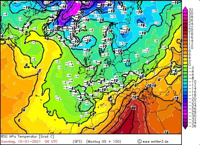 Prognozowana temperatura w niedzielę 10 stycznia według modelu GFS/wetter3.de