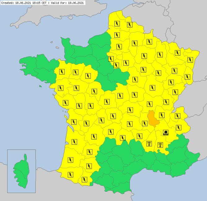 Ostrzeżenia meteorologiczne dla Francji na sobotę (meteoalarm.eu)